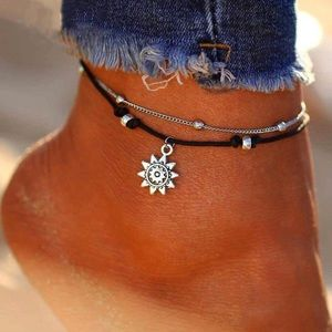 Jewelry - Silver/black ankle bracelet